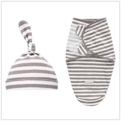 Miracle Baby SwaddleMe Swaddle with Cap - Gray stripe L -