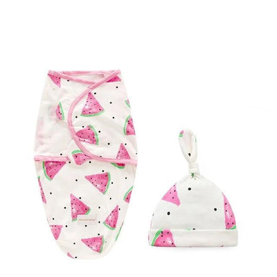 Miracle Baby SwaddleMe Swaddle with Cap - Watermelon S -