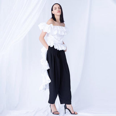 MIRANDA - Tuxedo Tail Style Blouse with Ruffles - White / L