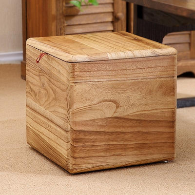 Modern Wooden Storage Stool - Natural - stools and ottomans