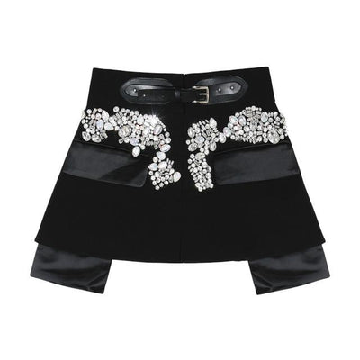 MOLLY - Crystal Embellished Mini Skirt Belt - black / S -