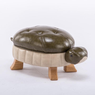 Mr. Turtle Leather Footstool-Large - stools and ottomans