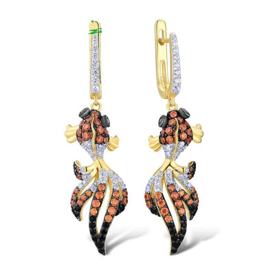 Multi Stone Gold Fish Earrings - Women's Earrings