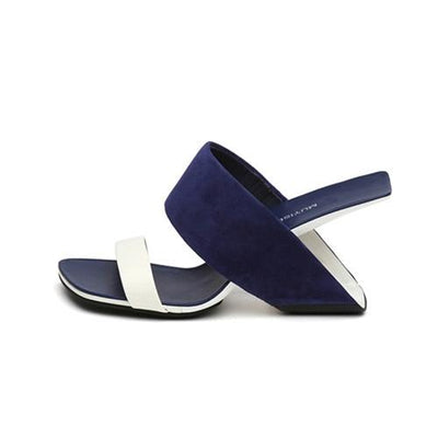 MUYI - Leather Mules - blue / 4.5 - women's Shoes