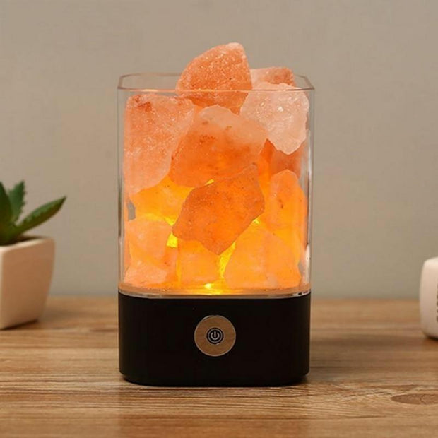 Natural Himalayan Salt Lamp - Black Base - Home decor
