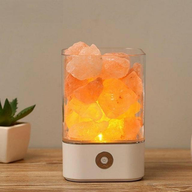 Natural Himalayan Salt Lamp - White Base - Home decor