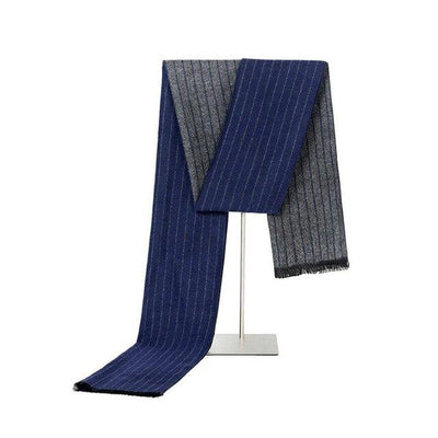 Navy Blue and Gray Cashmere and Silk Blend Scarf - Men's
