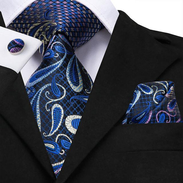 Navy Gray and Purple Paisley Tie - Men's Ties