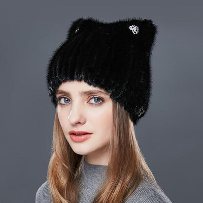 NIOVA - Mink Fur Hat with Crystal Embellishment - Women's