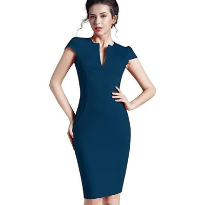 NOVELLA - Blue Fitted Sheath Dress with Pockets - blue / L -