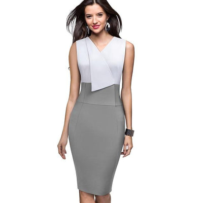 NURA - Colorblock Sheath Dress - Gray / L - women's clothing