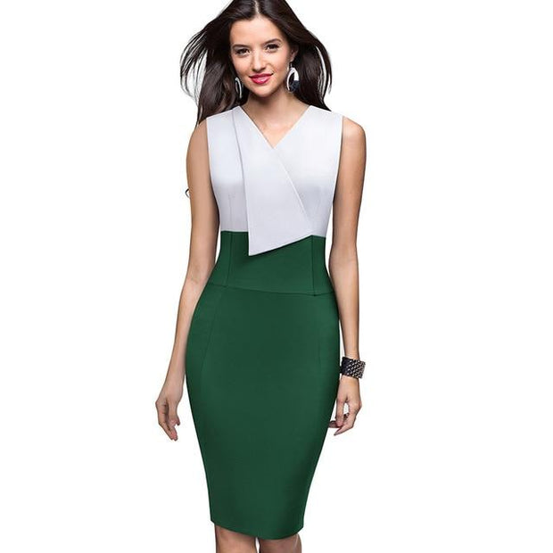 NURA - Colorblock Sheath Dress - Green / L - women's