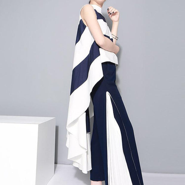 NURI - Blue and White Wide Leg Long Pants - women's clothing