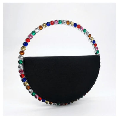 OHANA - Crystal Handle Circular Evening Bag - Women's Bags