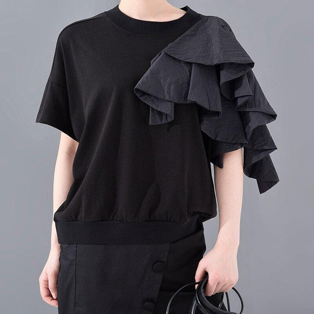 OMENA- Ruffle Shoulder Blouse - women's clothing