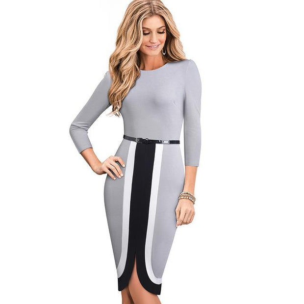 OPAL - Knee Length Dress - Gray / XL - women's clothing