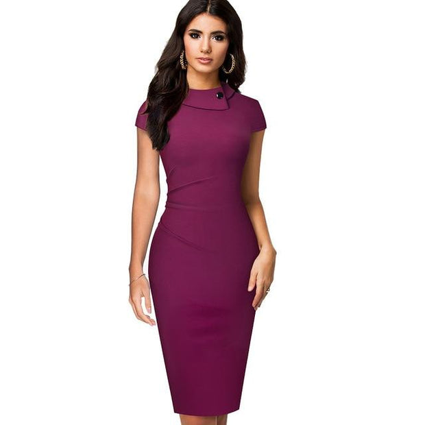 ORLA - Knee-Length Pencil Dress - Fuchsia / S - women's