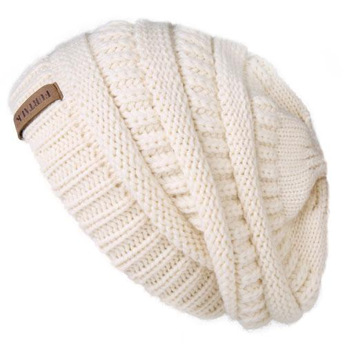 Oversized Knitted Beanie - Beige - womens winter hats
