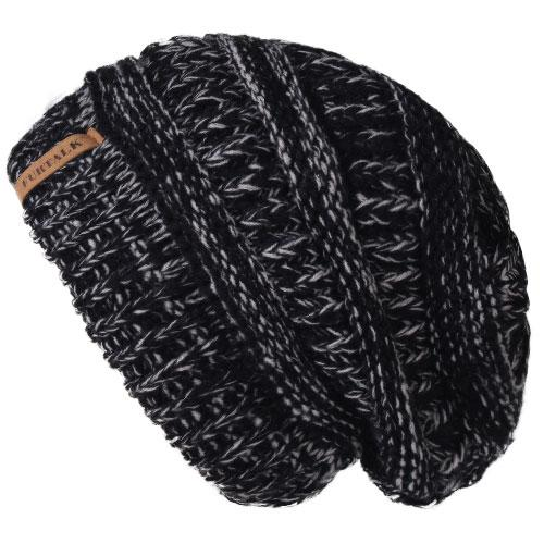 Oversized Knitted Beanie - Black Grey - womens winter hats