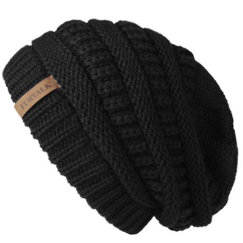 Oversized Knitted Beanie - Black - womens winter hats