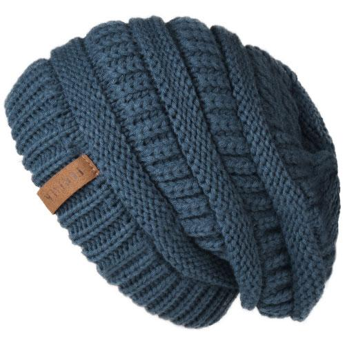 Oversized Knitted Beanie - blue 2 - womens winter hats