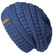 Oversized Knitted Beanie - Blue - womens winter hats