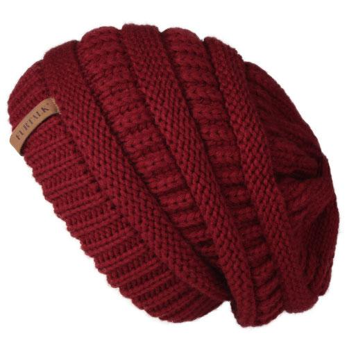 Oversized Knitted Beanie - Burgundy - womens winter hats