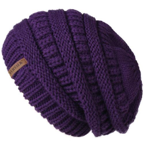 Oversized Knitted Beanie - dark purple - womens winter hats