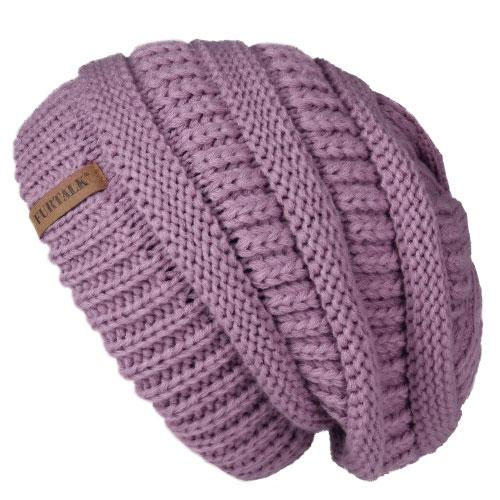 Oversized Knitted Beanie - Fog purple - womens winter hats
