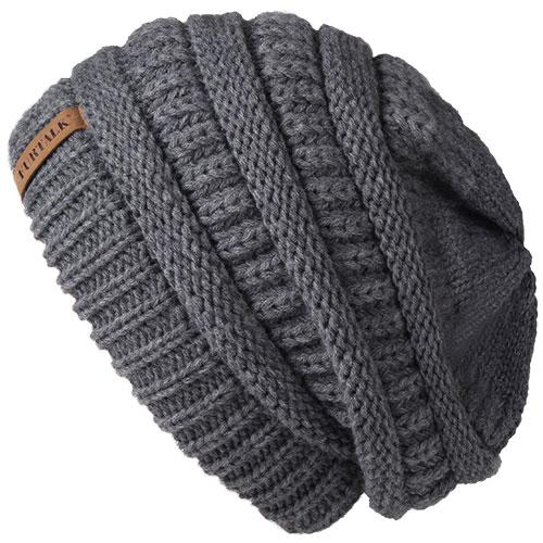 Oversized Knitted Beanie - Gray - womens winter hats
