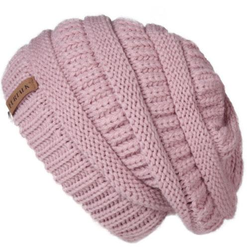 Oversized Knitted Beanie - Lotus Pink - womens winter hats
