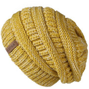 Oversized Knitted Beanie - mixed yellow - womens winter hats