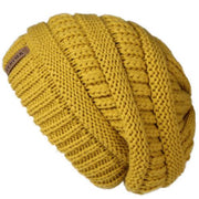 Oversized Knitted Beanie - Mustard yellow - womens winter