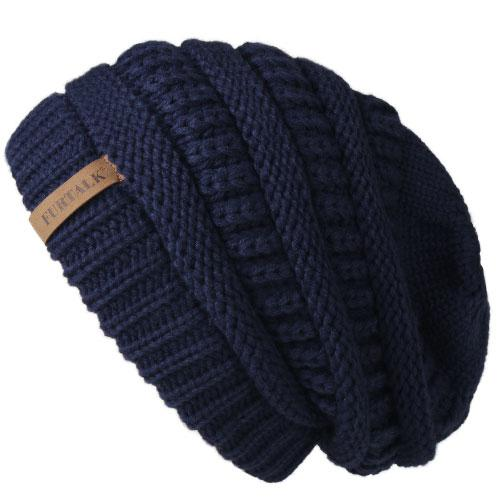 Oversized Knitted Beanie - Navy Blue - womens winter hats