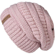 Oversized Knitted Beanie - Pink - womens winter hats