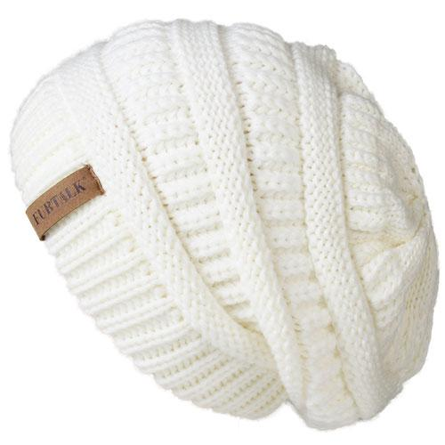 Oversized Knitted Beanie - White - womens winter hats