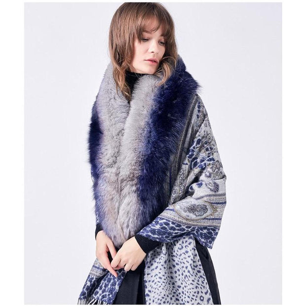 Patterned Blue Wool Scarf with Tassels and Fox Fur - Fur