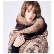 Patterned Brown Wool Scarf with Tassels and Fox Fur - Fur