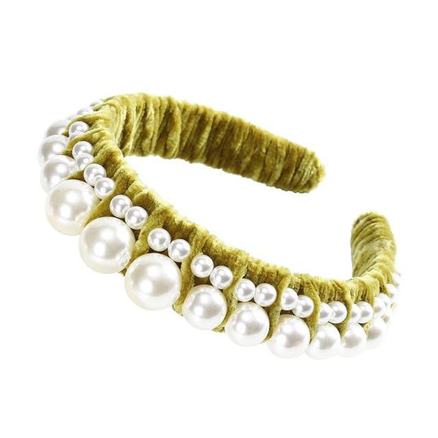 Pearl Embedded in Velvet Headband - Yellow - Hair Jewelry