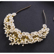 Pearl Tiara - Gold-color - Hair Jewelry