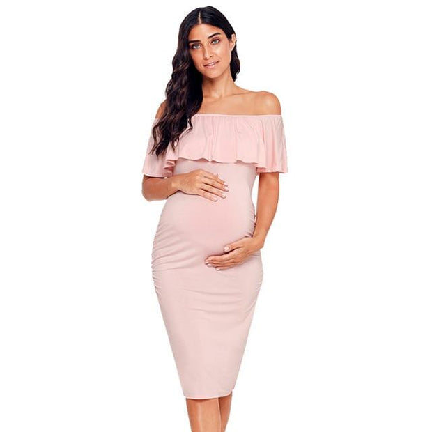 Pink Ruffles Off -the- Shoulder Maternity Dress - pic 5 / L