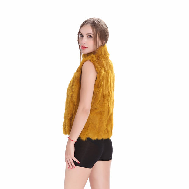 Gemma- Natural Rabbit Fur Gilet, Mustard