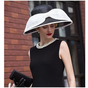 DIANA - Black Sinamay Hat with White Sinamay Bow