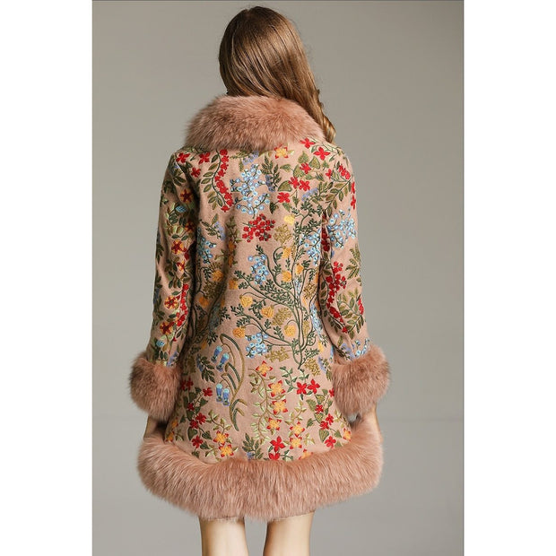 SAMKO -  Embroidered Jacket with Fox Fur Trim, Apricot