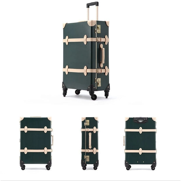 Genuine Leather Vintage Suitcase Dark Green Set- Limited Release!