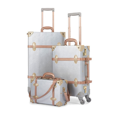3 Piece Silver Vintage Suitcase Set