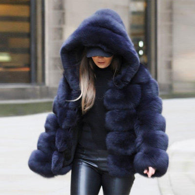 Premium Faux Fur Layered- Look Coat