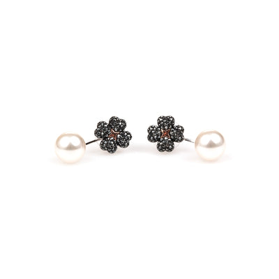 LATISHA PIERCED EARRING JACKETS, BLACK, MIXED METAL FINISH