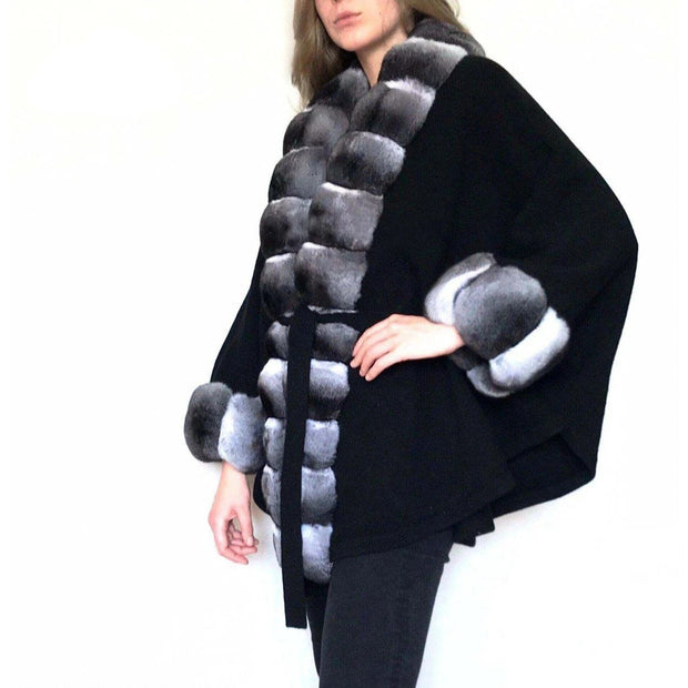 Addilyn - Wool Coat with Rex Rabbit Fur Trim and Cuffs in Chinchilla Print
