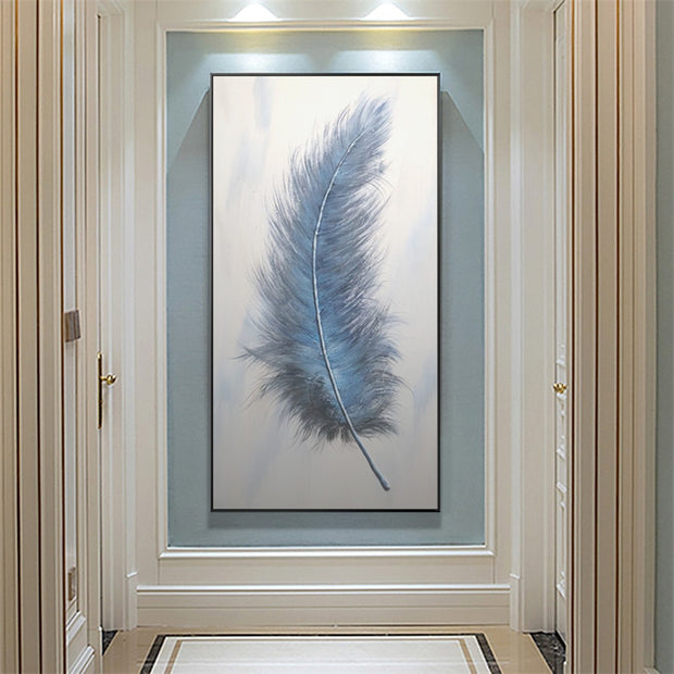 Modern Abstract with Feather Hand Painted Oil Canvas